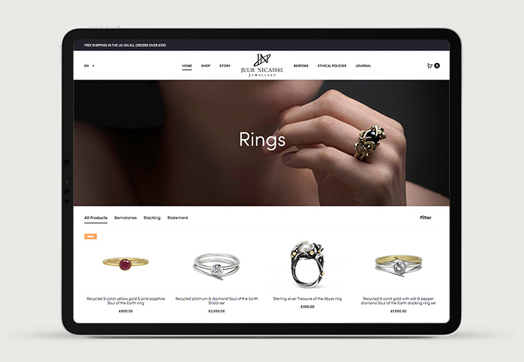 Julie Nicaisse Jewellery Designer 4 | Projects by Andre Armacollo Freelance Web Designer